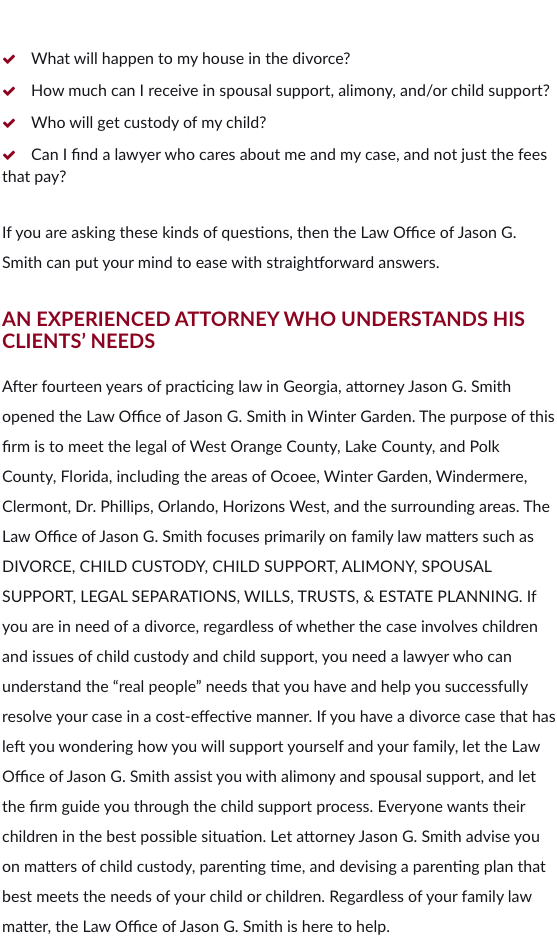 Family Law Attorney Winter Garden FL